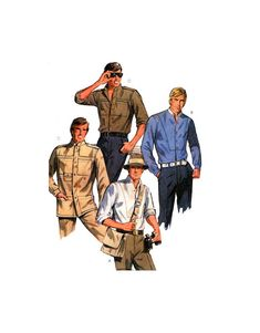 McCall's 8862 Men's Long Sleeve Shirts with Back Pleats, Shirttail Hemline and Stand Up Collar, Uncut, F/Folded, Sewing Pattern Size 38 Top Stitching, Stand Up, Casual Wear, Hemline, Sewing Patterns, Long Sleeve Shirts, Casual Outfits, Casual Clothes, Get Up