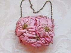 1920s Powder Puff Purse with Pink Ribbonwork