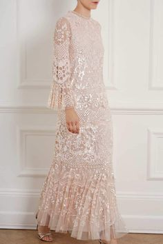 New Season Snowdrop Gown in Pearl Rose/Pink. Sequin Midi Dress, Sequin Gown, Chiffon Gown, Evening Dresses, Prom Dresses, Bride Dresses, Wedding Dresses, Lace Dresses, Floral Dresses