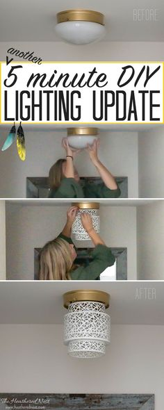 DIY lighting makeover for dated flush mounts! Unbelievable…and what a great idea for renters, too! Try this NO TOOLS needed boob light makeover using a woven basket from the Heathered Nest! Amazing way to update that dated flush mount ceiling lighting! Light Fixture Makeover, Diy Light Fixtures, Lamp Makeover, Flush Mount Light Fixtures, Bathroom Ceiling Light Fixtures, Kitchen Lighting, Bathroom Lighting, Flush Lighting, Farmhouse Lighting