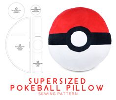 Sewing Pillows 21 Inspiration Image of Pokemon Sewing Patterns Pokemon Sewing Patterns Supersized Pokeball Pillow Sewing Pattern Sewdesune On Deviantart Owl Sewing Patterns, Plushie Patterns, Simplicity Sewing Patterns, Sewing Hacks, Sewing Tutorials, Sewing Crafts, Sewing Tips, Sewing Pillows, Diy Pillows
