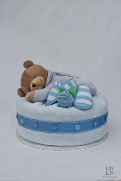 Slumberbear Nappy Diaper Cake Blue Boy