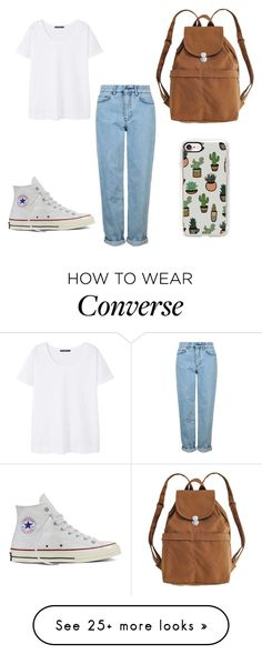 """""""Basic"""" by natcloset on Polyvore featuring Topshop, Violeta by Mango, Converse, Casetify and BAGGU"""