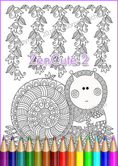 """Coloring Page adult and children doodle """"ZenCute_2"""", Intricate Zendoodle, Coloring Patterns, printable art original, PDF"""