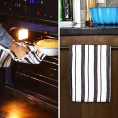 Recycled Dish Towel Double Oven Mitt - New Ideas Sewing Hacks, Sewing Crafts, Sewing Diy, Hand Sewing, Fun Crafts, Diy And Crafts, Simple Life Hacks, Dish Towels, Dish Towel Crafts