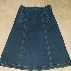 Denim Skirt Modest cute denim skirt with side zipper and hooks. Only worn once. In great condition. Christopher & Banks Skirts