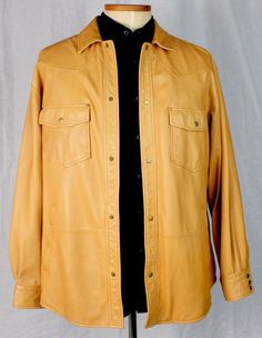 $450 Men's Territory Ahead Large Mantequilla Leather Shirt Jacket Lambskin Jac #TerritoryAhead #BasicJacket