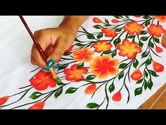 Free Hand Bel Painting Design on Kurtis / Sarees Acrylic Paint On Fabric, Fabric Painting On Clothes, Hand Painted Fabric, Painted Clothes, Saree Painting Designs, Fabric Paint Designs, Easy Canvas Painting, Diy Painting, Diy Embroidery