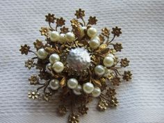 Vintage Miriam Haskel Faux Pearl Brooch by PastAccoutrements on Etsy