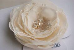 Bridal hair flower brooch and hair clip ivory by floraljewellery, $18.00