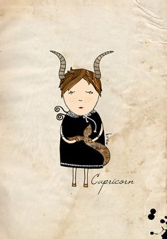 Capricorn print, girl astrology illustration, zodiac wall art