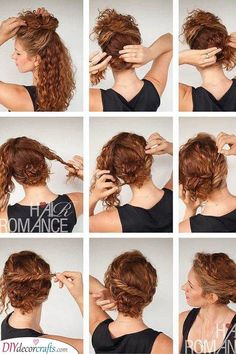 Are you in search of hairstyles for curly hair women? We are here to help with a collection of hairstyles for girls with curly hair! Curly Hair Dos, Wavy Hair, Curly Hair Styles, Natural Hair Styles, Curly Hair Updo Tutorial, Easy Curly Updo, Curly Updos For Medium Hair, Hair Romance Curly, Work Hairstyles