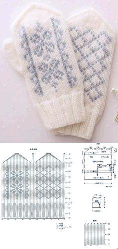 Knitting Charts, Knitting Stitches, Knitting Socks, Baby Knitting, Knitting Patterns, Knitted Mittens Pattern, Crochet Mittens, Crochet Gloves, Knitted Hats
