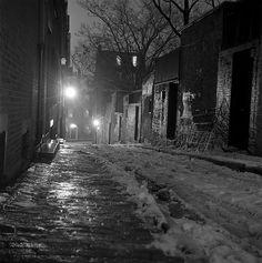 A winter's night on Beacon Hill, Boston - February, 1959 - photographer Nick DeWolf.