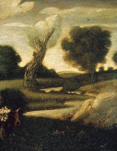 """The Forest of Arden,"" Albert Pinkham Ryder, 1888–97 (?), reworked 1908 (?), oil on canvas, 19 x 15"", Metropolitan Museum of Art."