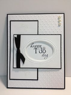 handmade wedding card elegant look in white with thin black matting and knotted black ribbon great design like the oval opening embossed frame for the sentiment which. Wedding Cards Handmade, Greeting Cards Handmade, Handmade Engagement Cards, Homemade Wedding Cards, Wedding Shower Cards, Card Wedding, Wedding Stationery, Diy Wedding, Wedding Venues