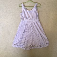 Gorgeous Lavender Lace Dress Honestly the cutest dress (I bought it for my Spring Formal but it was cancelled.) Super comfy and versatile. Would fit a medium or large Francesca's Collections Dresses Midi