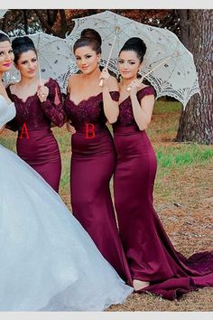 Burgundy Mermaid Long Sleeves Sweep Train Lace Bridesmaid Dress This dress could be custom made, there are no extra cost to do custom size and color Burgundy Bridesmaid Dresses Long, Mermaid Bridesmaid Dresses, Lace Bridesmaids, Prom Dresses, Burgundy Dress, Maid Of Honour Dresses, Wedding Party Dresses, Wedding Fun, Dream Wedding