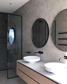 New bathroom black shower round mirrors ideas Bathroom Stall, Master Bathroom Shower, Small Bathroom, Bathroom Black, Shower Walls, Bathroom Cleaning, Bathroom Organization, Modern Bathroom Design, Bathroom Interior Design