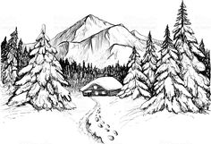Winter forest in mountains and house, sketch royalty-free stock vector art