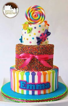 Candyland cake for a candy themed party. Torta Candy, Candy Cakes, Cupcake Cakes, Sweets Cake, Candy Themed Party, Candy Land Theme, Candy Theme Cake, Tortas Deli, Beautiful Cakes