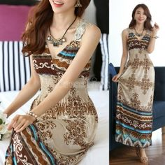 Maxi Lace Back Sexy Women Summer Bohemia V-Neck Long Beach Dress