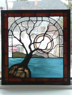 stained glass landscape geode tree moon metal sculpture