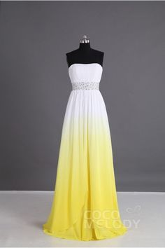 Eye-Catching Sheath-Column Sweetheart Natural Floor Length Chiffon Yellow Sleeveless Lace Up-Corset Bridesmaid Dress Beading Pleating PR2921 #cocomelody #dresses