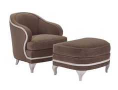 Etienne Chair + Etienne Ottoman This French Art Deco ottoman pairs with the Etienne Occasional Chair introduced Spring 2015. Etienne's strong curves, detailed carvings and decidedly modern legs, make her a truly luxe piece of furniture and a breathtaking sculpture.  Nails Optional Along Base
