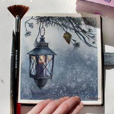 Love the snow flakes painting arte em aquarela, pintura aqua Watercolour Painting, Painting & Drawing, Watercolours, Illustration Noel, Pastel Art, Love Art, Diy Art, Art Inspo, Amazing Art