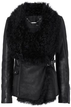 Barbara Bui Shearling/Leather Moto Jacket: Moto edge and shearling combine on… Ladies Coat Design, Shearling Jacket, Moto Jacket, Coats For Women, Outerwear Jackets, Casual Outfits, Real Leather, Black Leather, Motorcycle Jackets