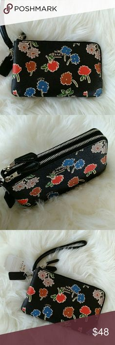 "NWT coach wristlet Printed coated convas Inside credit card pockets  Zip-top closer Strap with dog leash clip Dimensions 6,5""(L)*3,75(H) Coach Bags Clutches & Wristlets"
