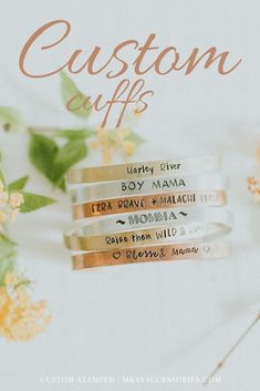 custom stamped cuff bracelet. You can chose any message you would like and we will stamp it on the bracelet for you. Some common choices are:- GPS Coordinates of home, favorite vacation spot, or a meaningful place- Motivational phrases, bible verses, yoga mantras- Birth dates, Anniversaries or Special Dates- Children's names, Spouse or significant others name, name of best friend.- Virtually ANYTHING you want!Bracelets are one size fits most and can be bent gently to make a custom fit for you.