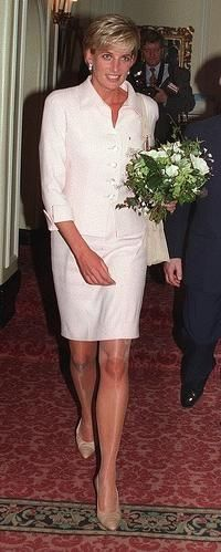 March 19, 1997: Diana, Princess of Wales at the Daily Star Gold Awards ceremony in London. She presented an award to former Royal Marine police captain, Chris Moon who had lost a leg when trying to clear a landmine in Mozambique.