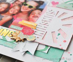 i like the sunshine  rays Chic Tags Good Day Sunshine layout by jamie pate