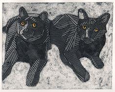 Two Black Cats Collograph Art  Macy and Taz 2 by bonniemurrayart on etsy