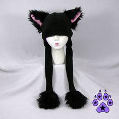 Black Faux Fur Kitty Cat Puffet Hat warm fleece strap by pawstar, $35.00
