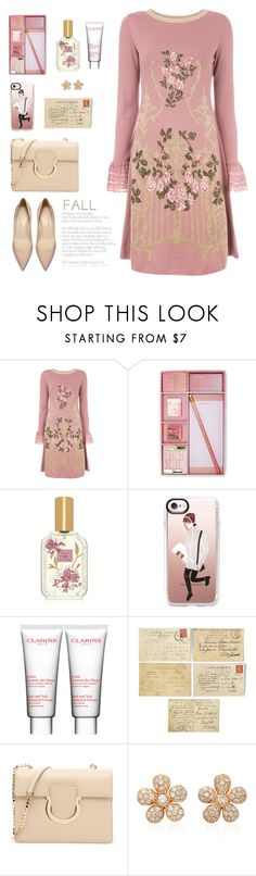 """""""September"""" by molly2222 ❤ liked on Polyvore featuring Alberta Ferretti, Forever 21, Lollia, Casetify, Clarins, Salvatore Ferragamo, Colette Jewelry and falldresses"""