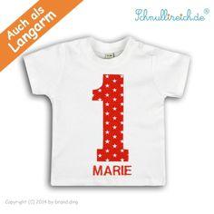 Baby T-Shirt mit Namen Nr.1 Rot ab 23,90 Euro