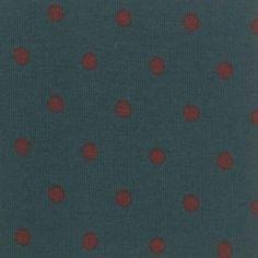 Stoff & Stil - Stretchjersey m/Punkten Petrol/Bordeaux  Ca. 145 cm breit  92% Baumwolle  8% Elastan  Pr. Meter 13,95