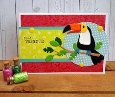 Card tropical bird birds, toucan, bird on a branch, Crea-spul van Colien Tropical Birds, Marianne Design, Animal Cards, Kids Cards, Toy Chest, Flamingo, Paper Crafts, Blog, Animals