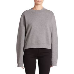 Acne Studios Bird Cropped Sweatshirt ($220) ❤ liked on Polyvore featuring tops, hoodies, sweatshirts, apparel & accessories, dark grey, crew neck crop top, long sleeve tops, slouchy pullover, crop top and crew neck sweat shirt