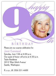 7 best invitations images on pinterest 90th birthday parties 90th 90th birthday party invitations with photo invitesannouncements birthday invitations stopboris Image collections