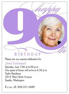 90th birthday party invitations with photo   ... Invites/Announcements > Birthday Invitations > 90th Milestone Birthday