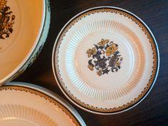 Vintage Plate Blackstone Ridgeways England Dessert Bread and Butter Black and Gold Flowers