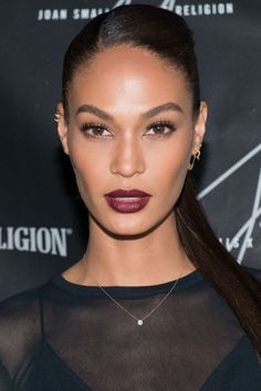 Joan Smalls went for dark glamour at the launch for her True Religion collection last night: