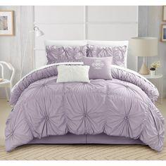 Chic Home Hyatt Floral Pinch Pleat Ruffled Designer Embellished 6-piece Comforter Set