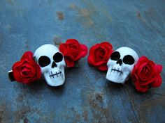 Day of the Dead Hair Clips - Skull and Red Roses - SET OF 2. $8.50, via Etsy.