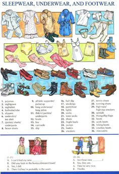 54 - SLEEPWEAR, UNDERWEAR AND FOOTWEAR - Pictures dictionary - English Study, explanations, free exercises, speaking, listening, grammar lessons, reading, writing, vocabulary, dictionary and teaching materials