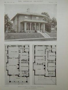 Exterior, House of Rev. J. G. Mueller, Dayton, OH, 1919, Lithograph. Louis Lott.